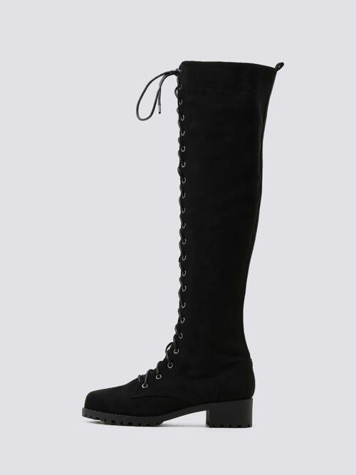 Pretty Black Suede Tpr Cotton Minimalist Lace-up Front Chunky Heeled Boots