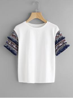 Casual Colorblock Slim Fit Round Neck Short Sleeve White Aztec Sleeve With Coin Fringe T-shirt