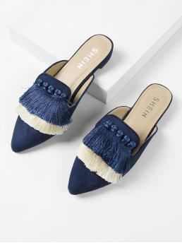 Comfort Point Toe Blue Tassel Detail Color Block Mule Flats