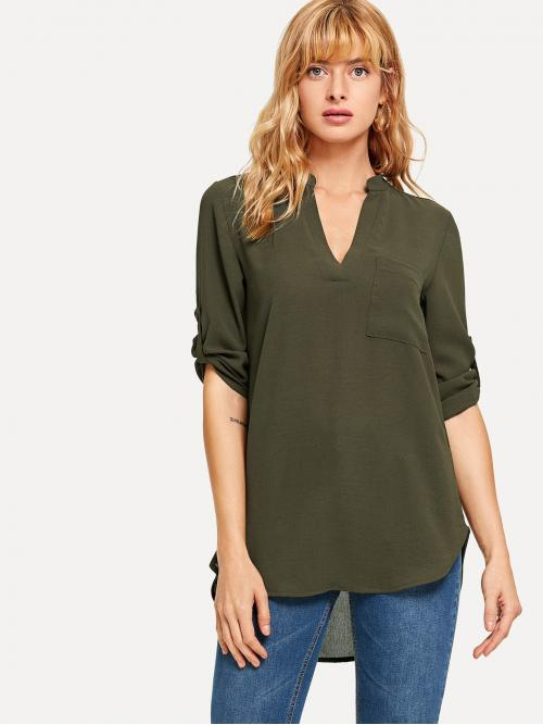 Women's Three Quarter Length Sleeve Top Pocket Polyester Rolled Sleeve Dip Hem Blouse