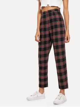 Preppy Plaid Tapered/Carrot Regular Zipper Fly Mid Waist Multicolor Cropped Length Plaid Zip Side Pants