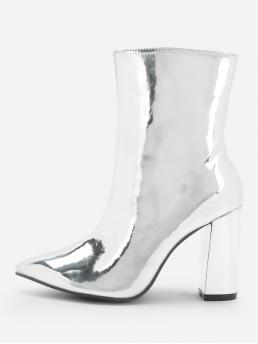 Other Point Toe Side zipper Silver High Heel Chunky Side Zipper Metallic Boots