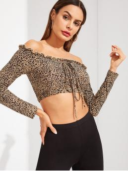 Casual Leopard Slim Fit Off the Shoulder Long Sleeve Pullovers Multicolor Crop Length Frilled Trim Leopard Print Knot Bardot Tee
