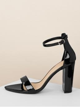 Glamorous Open Toe Ankle Strap Black High Heel Chunky Pointed Sold Ankle Strap Block Heel Sandals