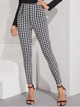 Preppy Gingham Skinny Skinny Zipper Fly Mid Waist Black and White Long Length Zip Front Gingham Print Skinny Pants