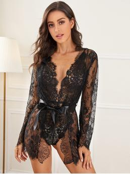 Teddies and Robes Plain Black 2Pcs Eyelash Floral Lace Teddy Bodysuit With Robe