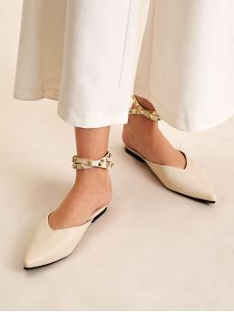 Comfort Apricot Studded Decor Ankle Strap Point Toe Flats