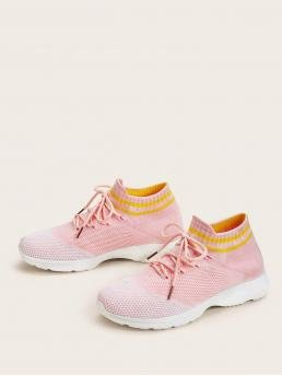Comfort Round Toe Striped Lace Up Pink Lace-up Front Wide Fit Sneakers