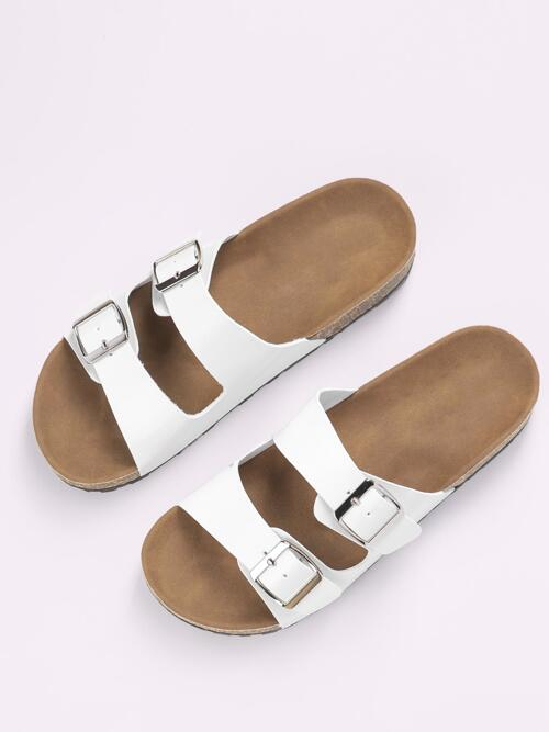 Clearance White Footbedsandals Buckle Open Toe Double Band Footbed Slide Sandals