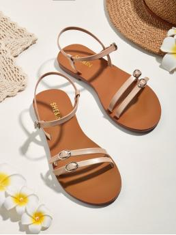 Ankle Strap Open Toe Ankle Strap Camel Buckle Decor Thin Strap Flat Sandals