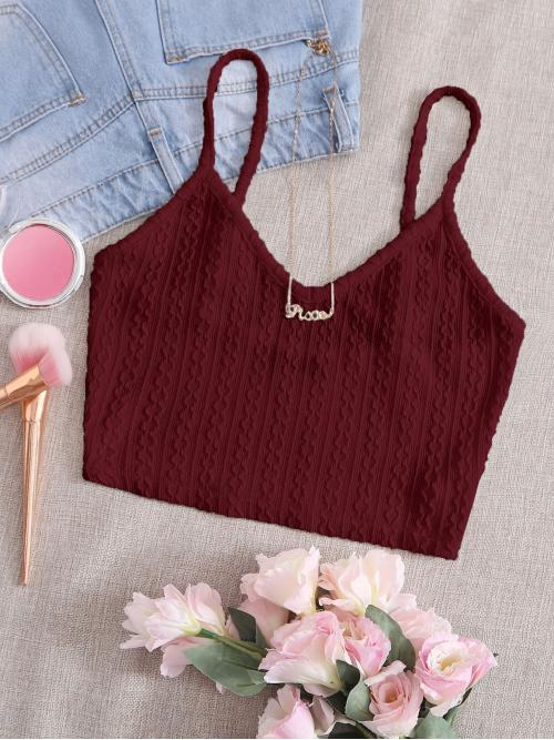 Affordable Cami Rayon Plain Maroon Cable Knit Top