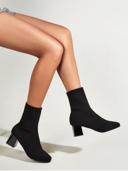 Beautiful Black Stretch Boots Mid Heel Chunky Point Toe Heeled Sock Boots
