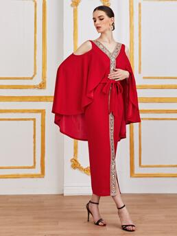 Red Colorblock Tape V Neck Cold Shoulderd Self Dress with Cape on Sale
