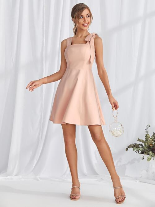Baby Pink Plain Bow Straps Shoulder Solid Dress Pretty