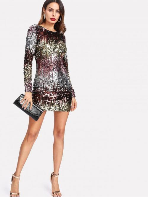 Multicolor Plain Embroidery Round Neck Ombre Sequin Dress Shopping
