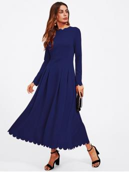 Womens Navy Blue Plain Zipper Round Neck Edge Boxed Pleated Fit & Flare Dress