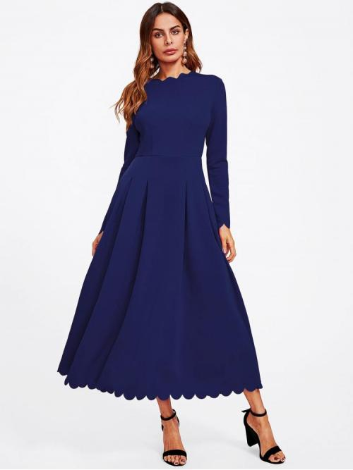 Navy Blue Plain Scallop Round Neck Edge Boxed Pleated Fit & Flare Dress Discount