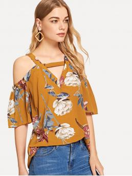 Boho Floral Top Regular Fit Straps Half Sleeve Pullovers Yellow Regular Length Open Shoulder Cut Out Floral Blouse