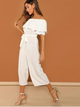 Cheap White Natural Waist Beaded Culottes Flounce Self Tie Culotte Jumpsuit
