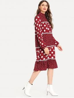 Sale Multicolor Polka Dot Ruffle Hem Stand Collar Contrast Panel Dress