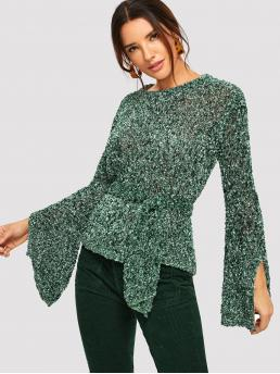 Elegant Belted and Knot Plain Pullovers Regular Fit Round Neck Long Sleeve Pullovers Green Regular Length Split Flounce Sleeve Tie Waist Ripped Sweater with Belt