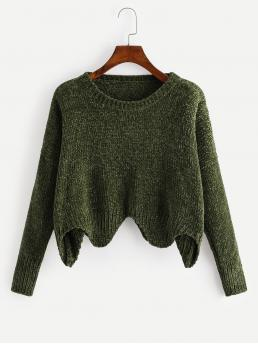Casual Asymmetrical Plain Asymmetrical Pullovers Regular Fit Round Neck Long Sleeve Pullovers Green Crop Length Asymmetric Hem Solid Knit Sweater