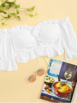 Sexy Plain Regular Fit Off the Shoulder Short Sleeve Flounce Sleeve Pullovers White Crop Length Frill Trim Lace-up Schiffy Off Shoulder Crop Top