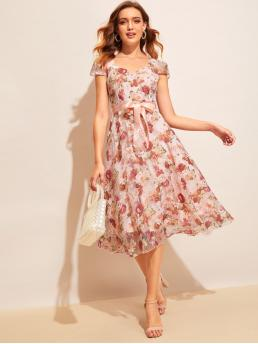 Vintage A Line Floral Flared Regular Fit Sweetheart Cap Sleeve Regular Sleeve High Waist Multicolor Long Length Floral Print Mesh Overlay Belted Fit & Flare Dress with Belt with Lining