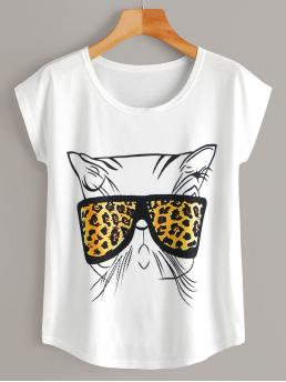 Casual Cartoon and Leopard Regular Fit Round Neck Short Sleeve Pullovers White Regular Length Cat Print Tee