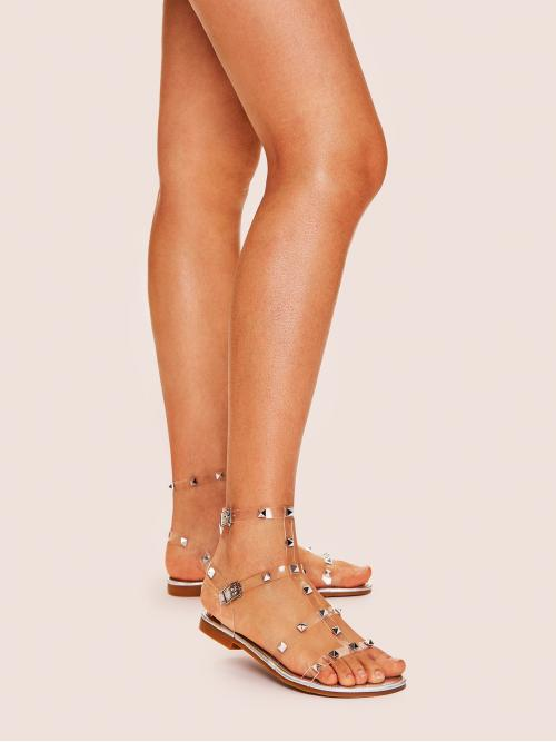 Glamorous Open Toe Ankle Strap Silver Studded Decor Strappy Sandals