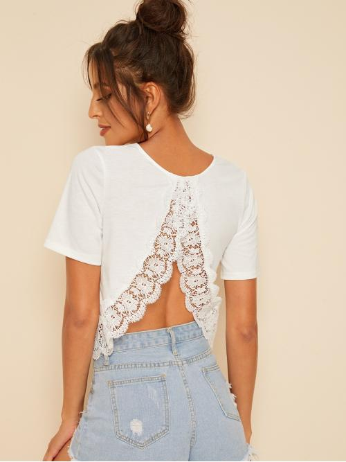 Sexy Plain Regular Fit Round Neck Short Sleeve Pullovers White Regular Length Solid Guipure Lace Hem Top