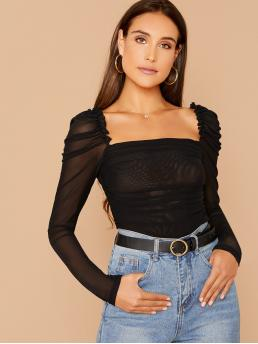 Sexy Plain Slim Fit Square Neck Long Sleeve Pullovers Black Regular Length Frilled Trim Ruched Mesh Top