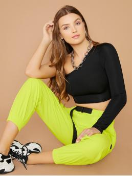 Casual Plain Cargo Pants Regular Elastic Waist Mid Waist Green and Bright Long Length Elastic Buckled Waist Neon Cargo Pants