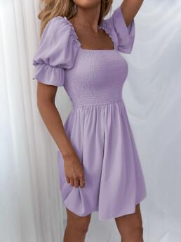 Lilac Purple Plain Shirred Square Neck Bodice Solid Dress Clearance