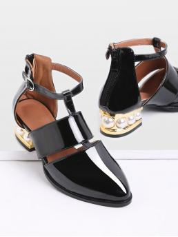 Almond Toe Plain Ankle Strap Black Mid Heel Chunky Black Pearl Design Back Zipper Patent Leather Shoes