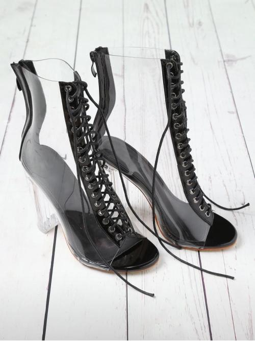Affordable Corduroy Black Booties Cut out Lace up Back Transparent Heels