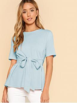Short Sleeve Top Belted Cotton Self Belt Keyhole Back Solid Top Clearance