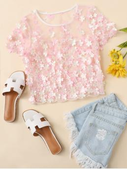 Sexy Floral Top Regular Fit Round Neck Short Sleeve Pullovers Pink Crop Length Petal Applique Mesh Top