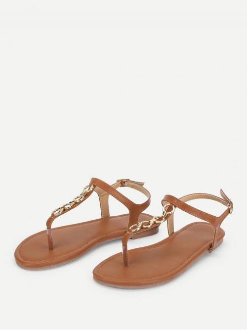 Corduroy Brown Thong Sandals Embroidery Chain Decorated Sandals Shopping