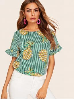 Casual Striped and Fruit&Vegetable Top Regular Fit Round Neck Short Sleeve Pullovers Green Regular Length Striped Pineapple Print Flounce Sleeve Blouse