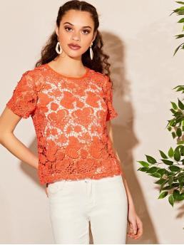 Boho Plain Regular Fit Round Neck Short Sleeve Regular Sleeve Pullovers Orange and Bright Regular Length Cutwork Guipure Lace Top