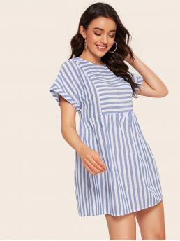 Cute A Line Striped Loose Round Neck Short Sleeve Roll Up Sleeve High Waist Blue Short Length Rolled Cuff Keyhole Back Striped Dress