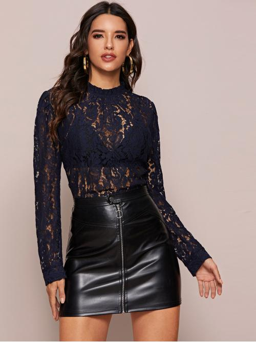 Sexy Plain Top Regular Fit Stand Collar Long Sleeve Regular Sleeve Pullovers Black Regular Length Mock Neck Keyhole Back Sheer Lace Top Without Bra
