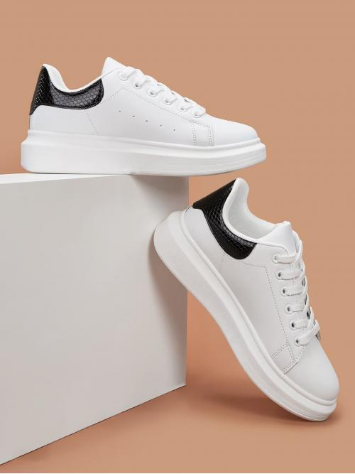 Comfort Round Toe Lace Up White Lace-up Front Wide Fit Sneakers