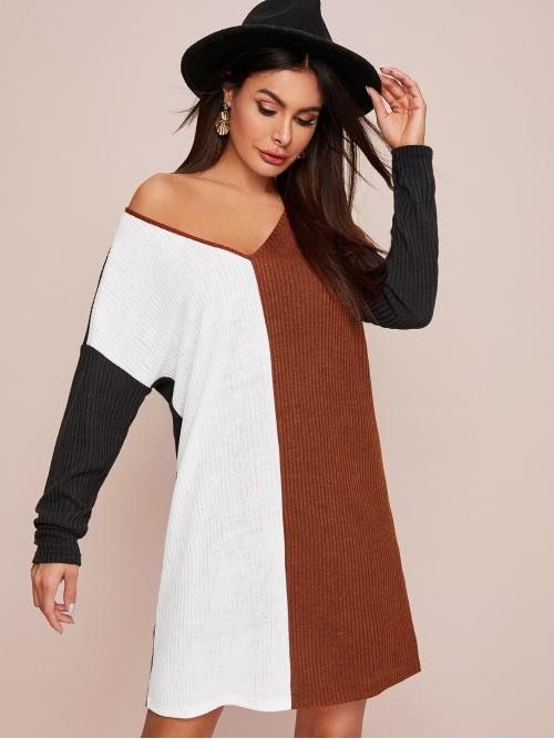 Casual Tee Colorblock Straight Regular Fit V neck Long Sleeve Regular Sleeve Natural Multicolor Short Length V-neck Drop Shoulder Rib-knit Tee Dress