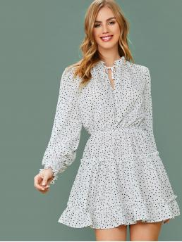 Boho A Line All Over Print Layered/Tiered Regular Fit Stand Collar Long Sleeve Bishop Sleeve High Waist Black and White Short Length Shirred Lantern Sleeve Tie Neck Frill Trim All-over Print Dress