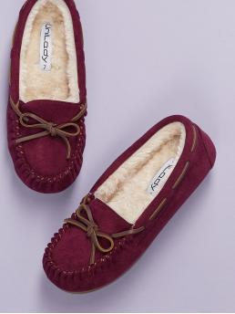 Comfort Round Toe Plain Burgundy Tie Accent Faux Fur Lined Smoking Shoes