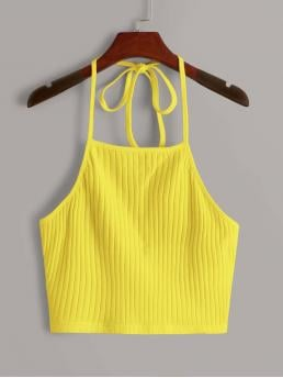 Halter Rib-knit Cotton Plain Neon Yellow Tie Back Top Clearance