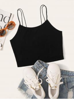 Casual Cami Plain Slim Fit Spaghetti Strap Black Crop Length Double Straps Solid Crop Cami Top