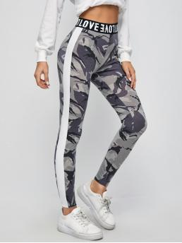 Ladies Multicolor Side Stripe Regular Camo Letter Tape Waist Contrast Side Seam Leggings